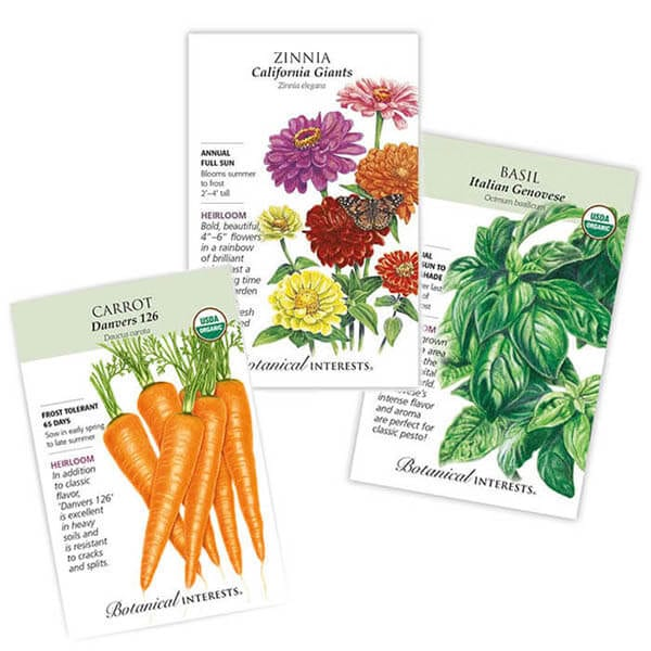 Three seed packets